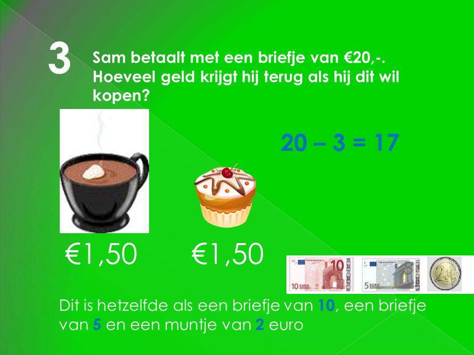 3 Sam betaalt met een briefje van €20,-. Hoeveel geld krijgt hij terug als hij dit wil kopen 20 – 3 = 17.