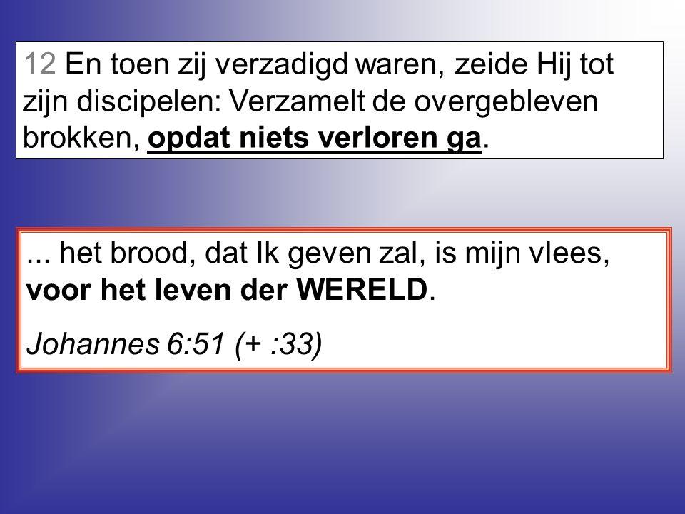 12 En toen zij verzadigd waren, zeide Hij tot zijn discipelen: Verzamelt de overgebleven brokken, opdat niets verloren ga.
