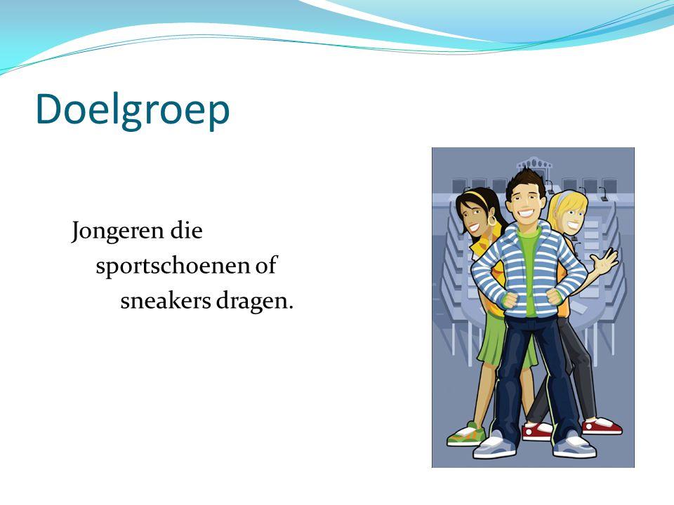 Doelgroep Jongeren die sportschoenen of sneakers dragen.