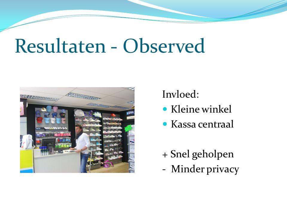 Resultaten - Observed Invloed: Kleine winkel Kassa centraal