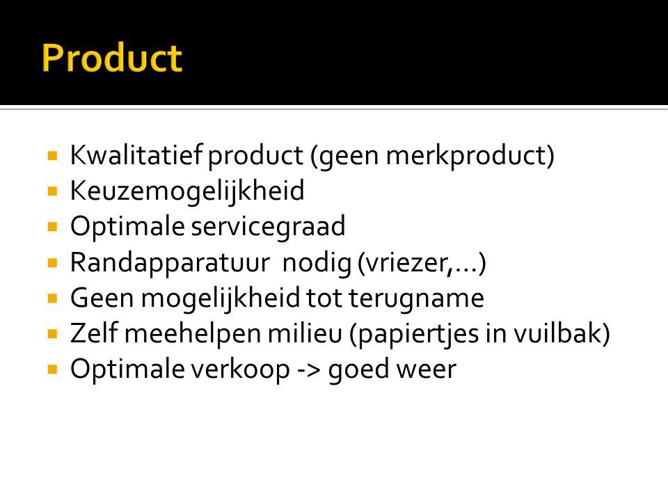 Product Kwalitatief product (geen merkproduct) Keuzemogelijkheid