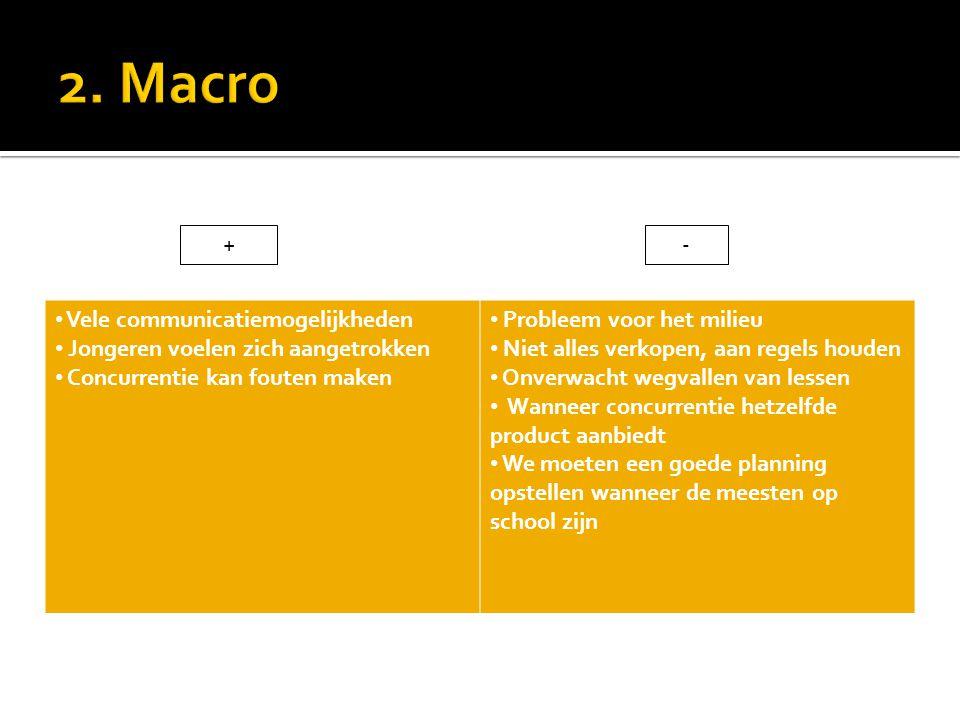 2. Macro + - Vele communicatiemogelijkheden