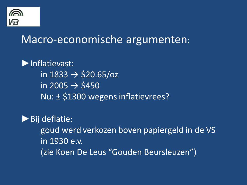 Macro-economische argumenten: ►Inflatievast:. in 1833 → $20. 65/oz