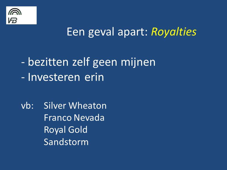 Een geval apart: Royalties - bezitten zelf geen mijnen - Investeren erin vb: Silver Wheaton Franco Nevada Royal Gold Sandstorm
