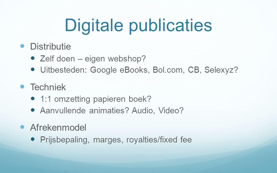 Digitale publicaties Distributie Techniek Afrekenmodel