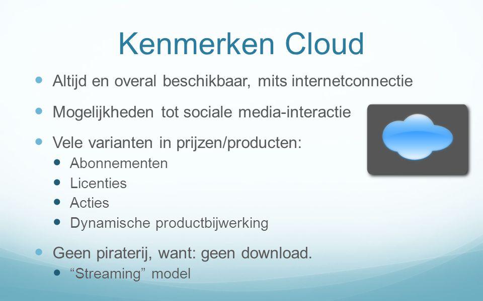 Kenmerken Cloud Altijd en overal beschikbaar, mits internetconnectie