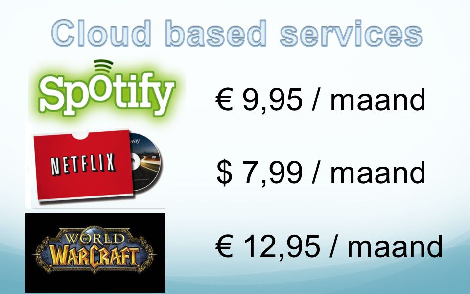Cloud based services € 9,95 / maand $ 7,99 / maand € 12,95 / maand