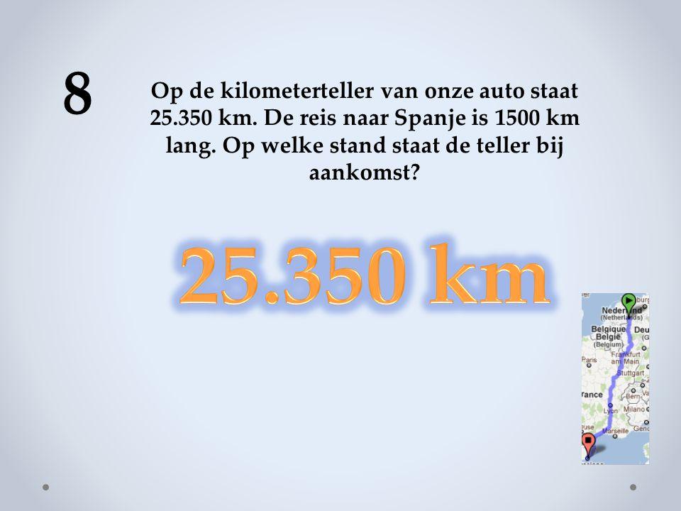 8 Op de kilometerteller van onze auto staat 25.350 km. De reis naar Spanje is 1500 km lang. Op welke stand staat de teller bij aankomst