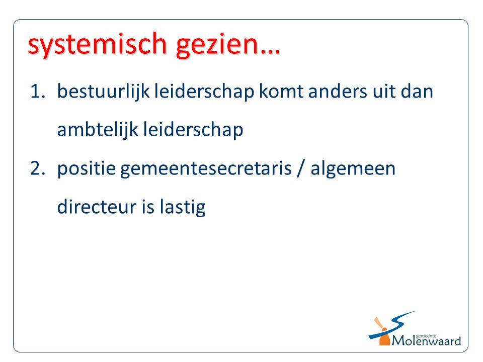 systemisch gezien… bestuurlijk leiderschap komt anders uit dan ambtelijk leiderschap.