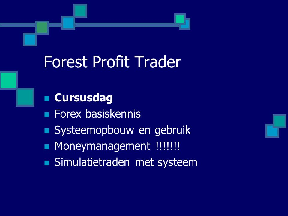 Forest Profit Trader Cursusdag Forex basiskennis