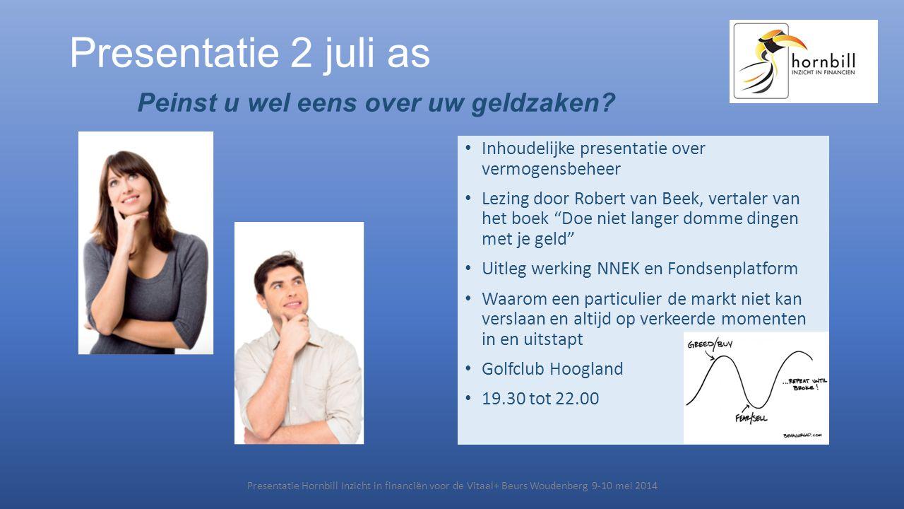 Presentatie 2 juli as Peinst u wel eens over uw geldzaken