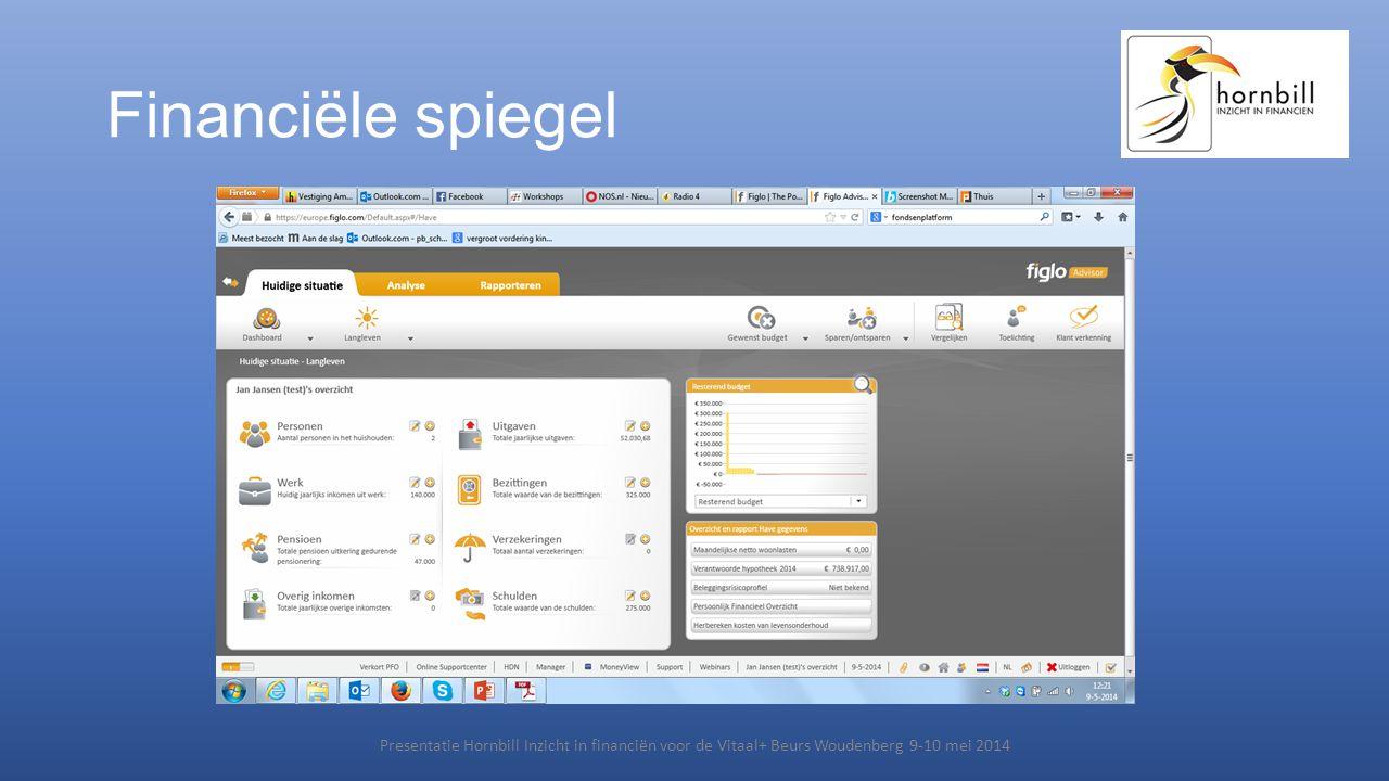 Financiële spiegel Presentatie Hornbill Inzicht in financiën voor de Vitaal+ Beurs Woudenberg 9-10 mei 2014.