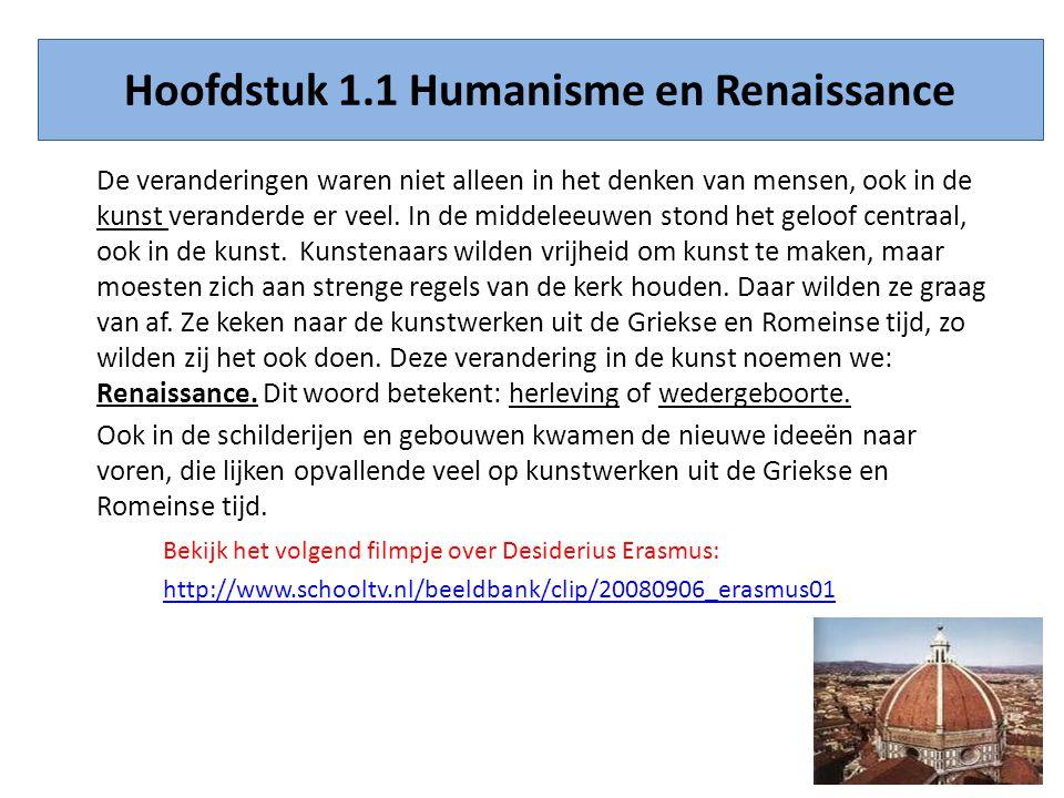 Hoofdstuk 1.1 Humanisme en Renaissance