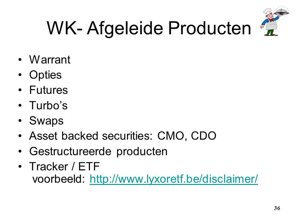 WK- Afgeleide Producten