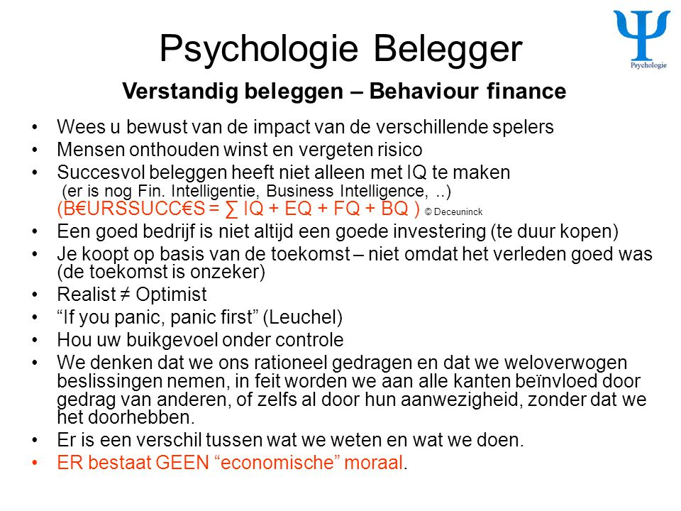 Psychologie Belegger Verstandig beleggen – Behaviour finance