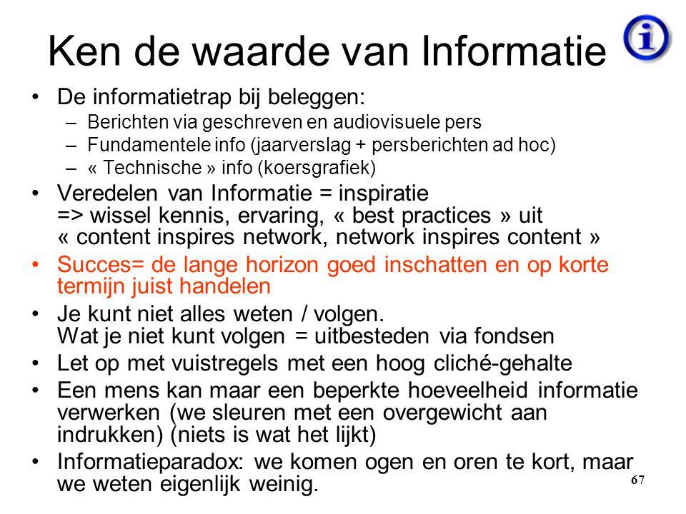 Ken de waarde van Informatie