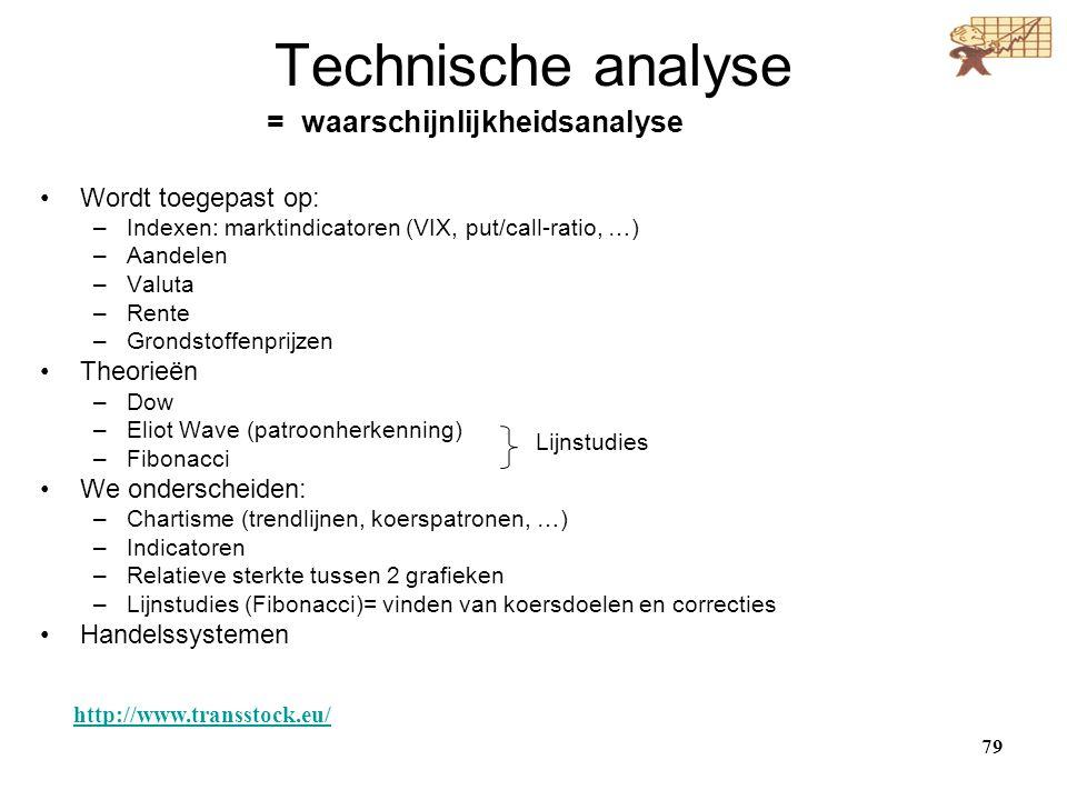 Technische analyse = waarschijnlijkheidsanalyse Wordt toegepast op: