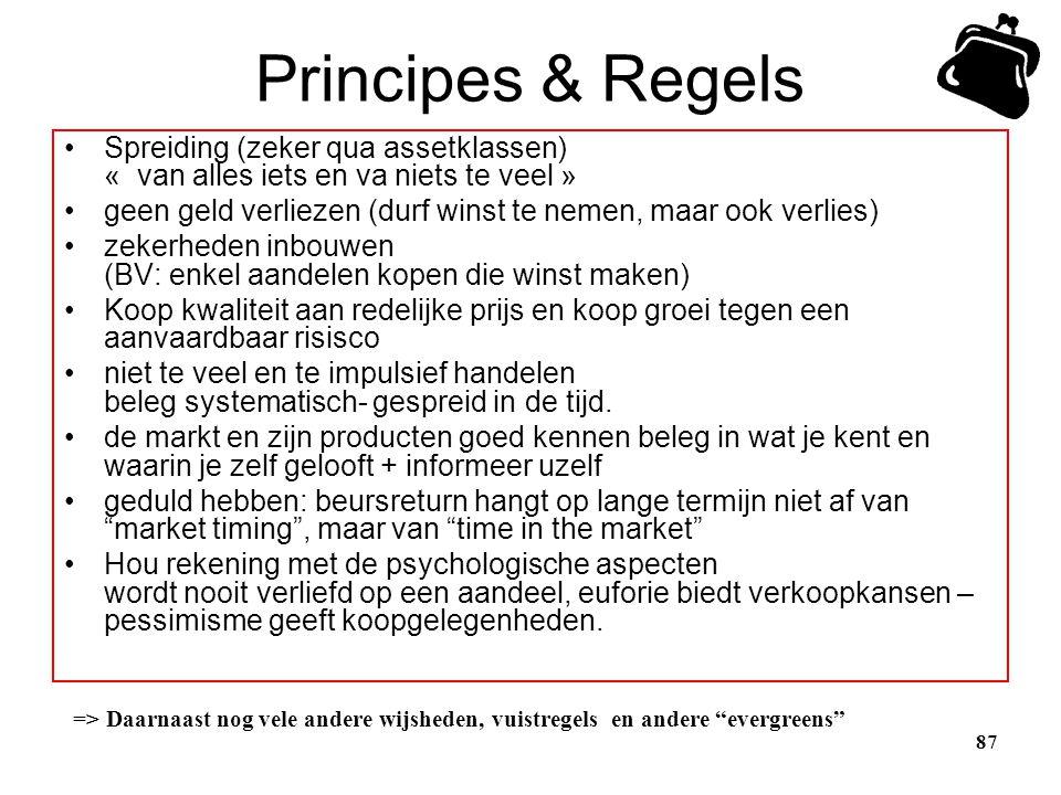 Principes & Regels Spreiding (zeker qua assetklassen) « van alles iets en va niets te veel »