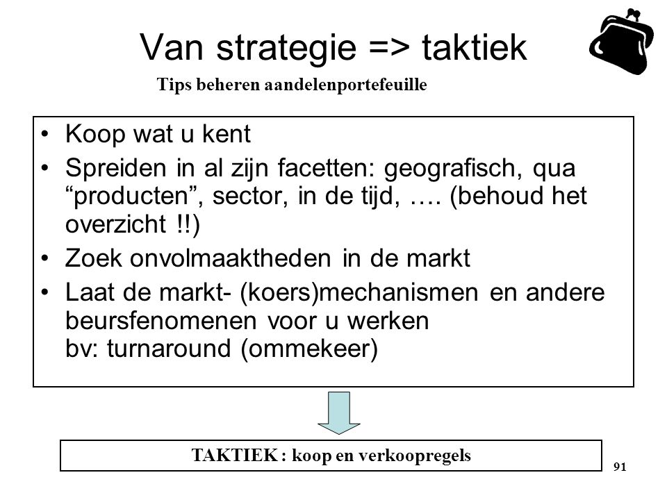 Van strategie => taktiek