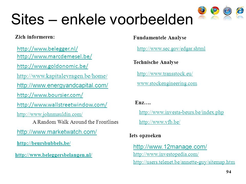 Sites – enkele voorbeelden