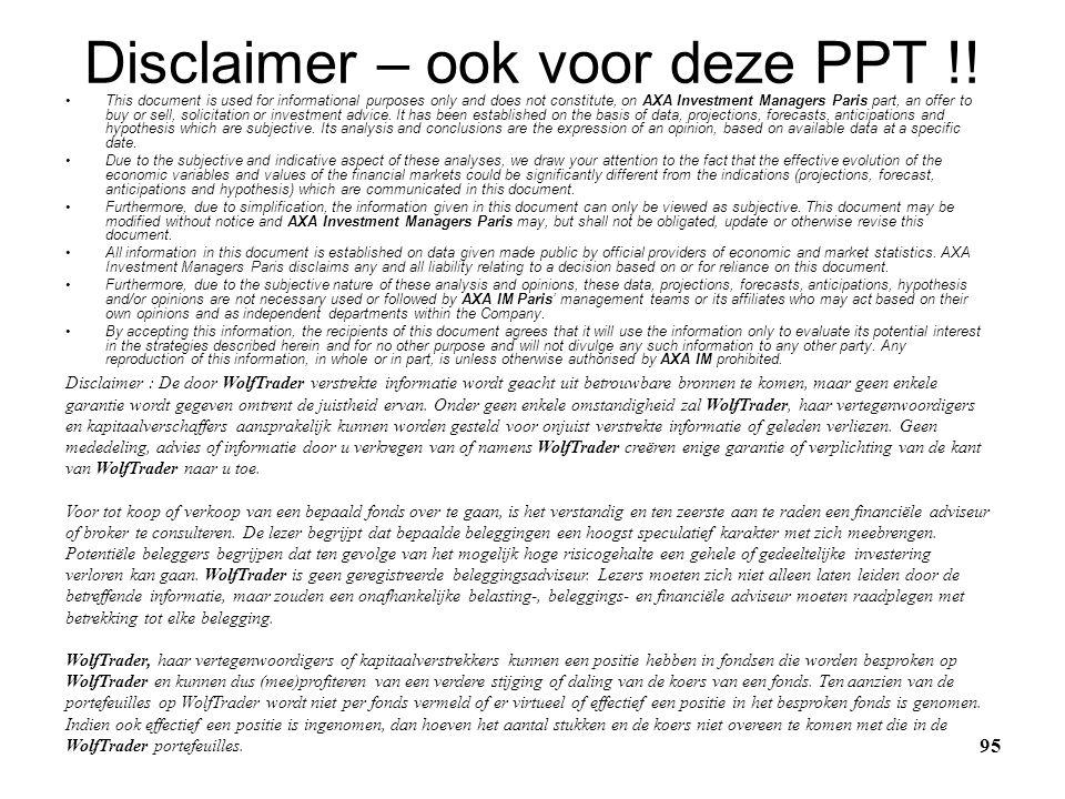 Disclaimer – ook voor deze PPT !!
