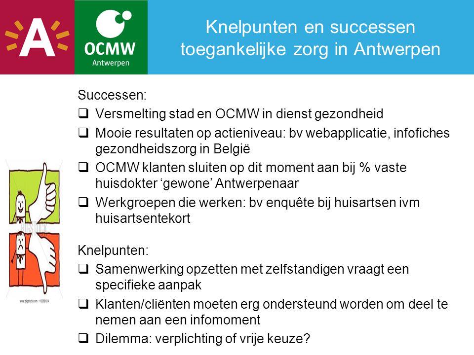Knelpunten en successen toegankelijke zorg in Antwerpen