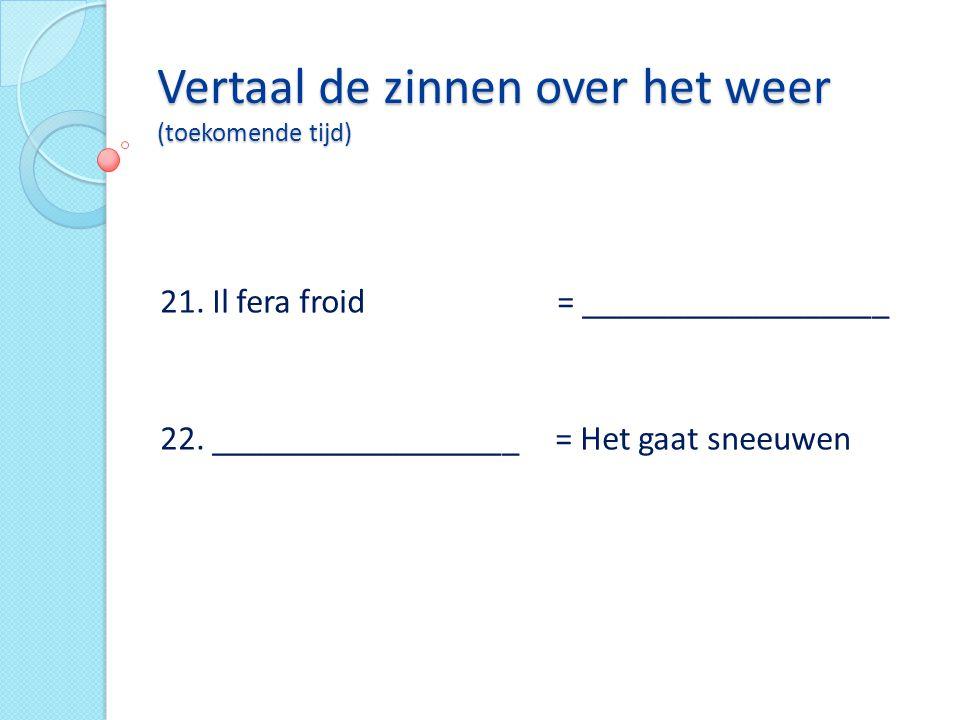 Vertaal de zinnen over het weer (toekomende tijd)