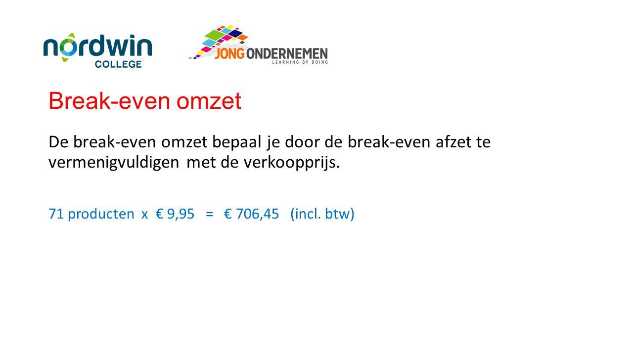 Break-even omzet De break-even omzet bepaal je door de break-even afzet te vermenigvuldigen met de verkoopprijs.
