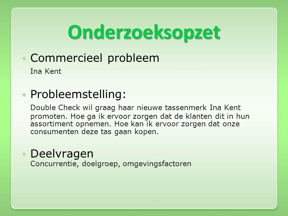 Onderzoeksopzet Commercieel probleem Ina Kent Probleemstelling: