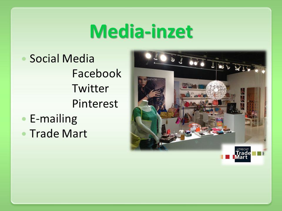 Media-inzet Social Media Facebook Twitter Pinterest E-mailing