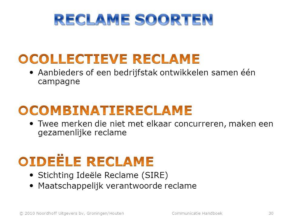 Reclame soorten Collectieve reclame Combinatiereclame Ideële reclame
