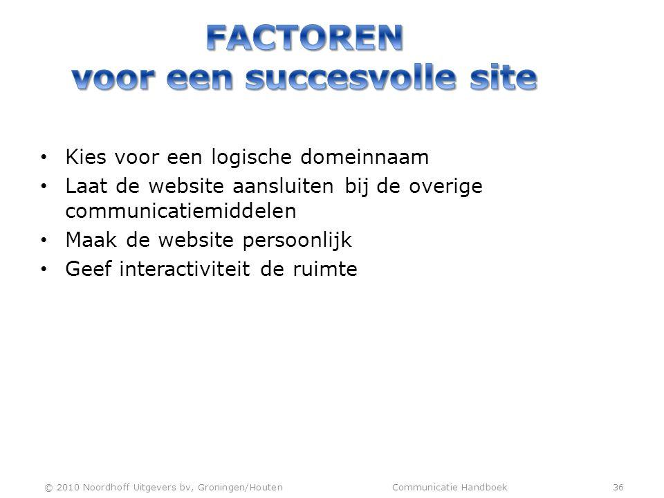 Factoren voor een succesvolle site