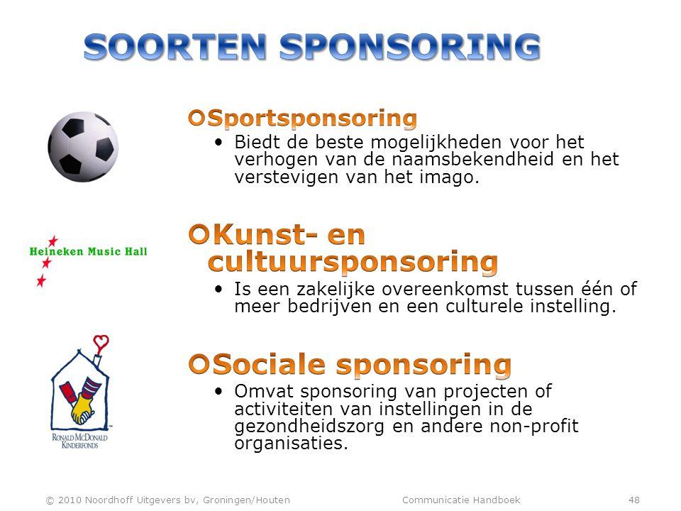 Soorten sponsoring Kunst- en cultuursponsoring Sociale sponsoring