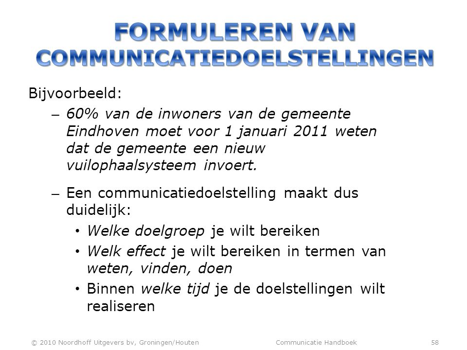 FORMULEREN VAN COMMUNICATIEDOELSTELLINGEN