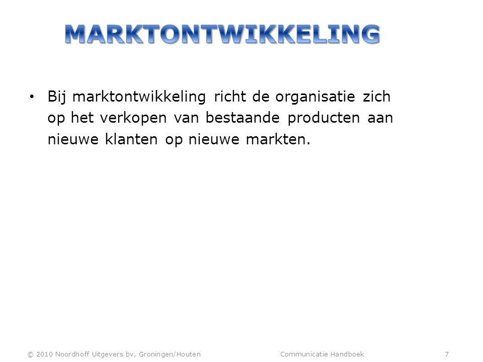 Marktontwikkeling Bij marktontwikkeling richt de organisatie zich