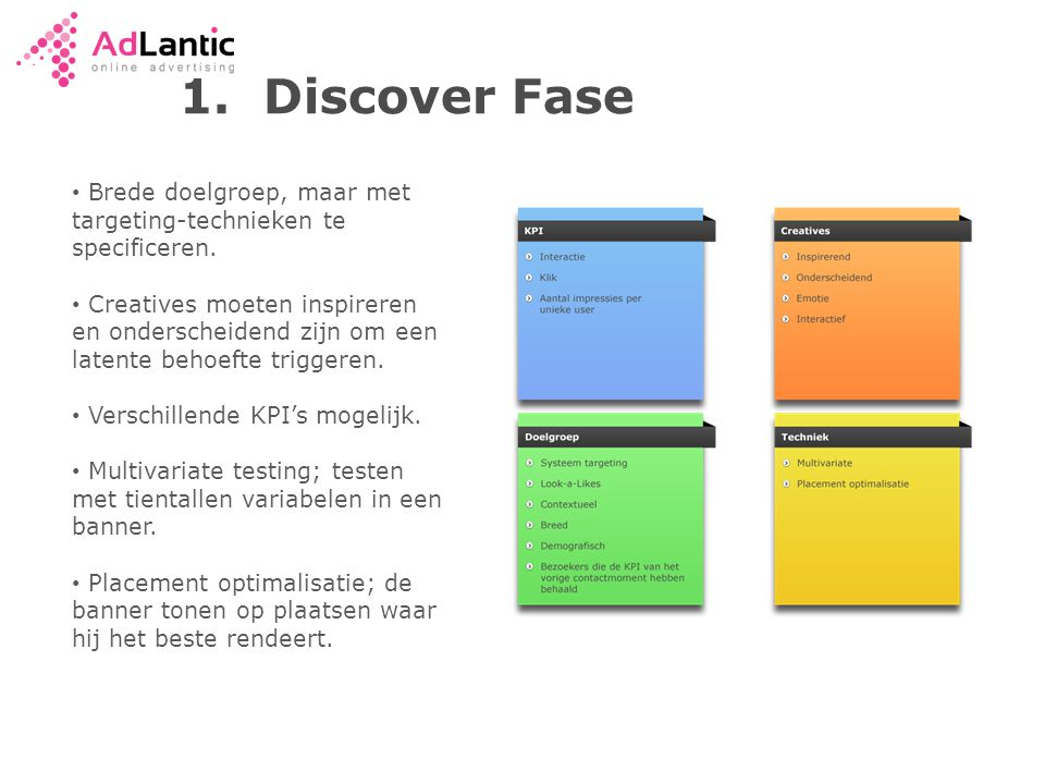 1. Discover Fase Brede doelgroep, maar met targeting-technieken te specificeren.