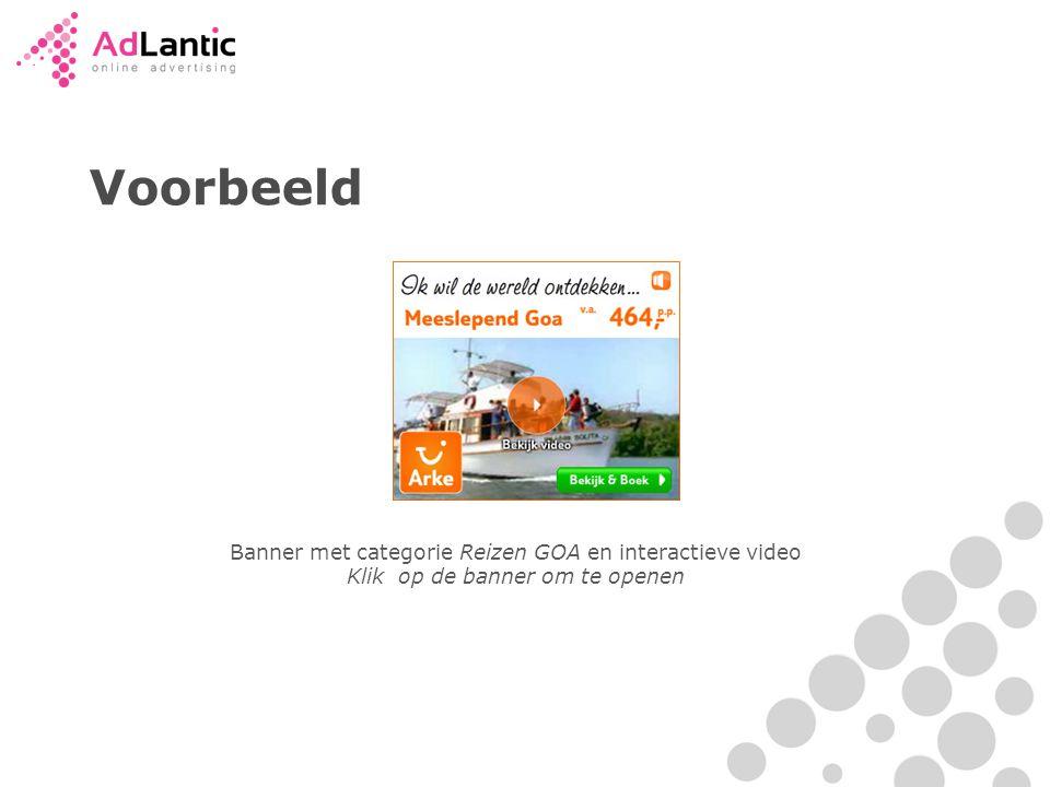 Voorbeeld Banner met categorie Reizen GOA en interactieve video