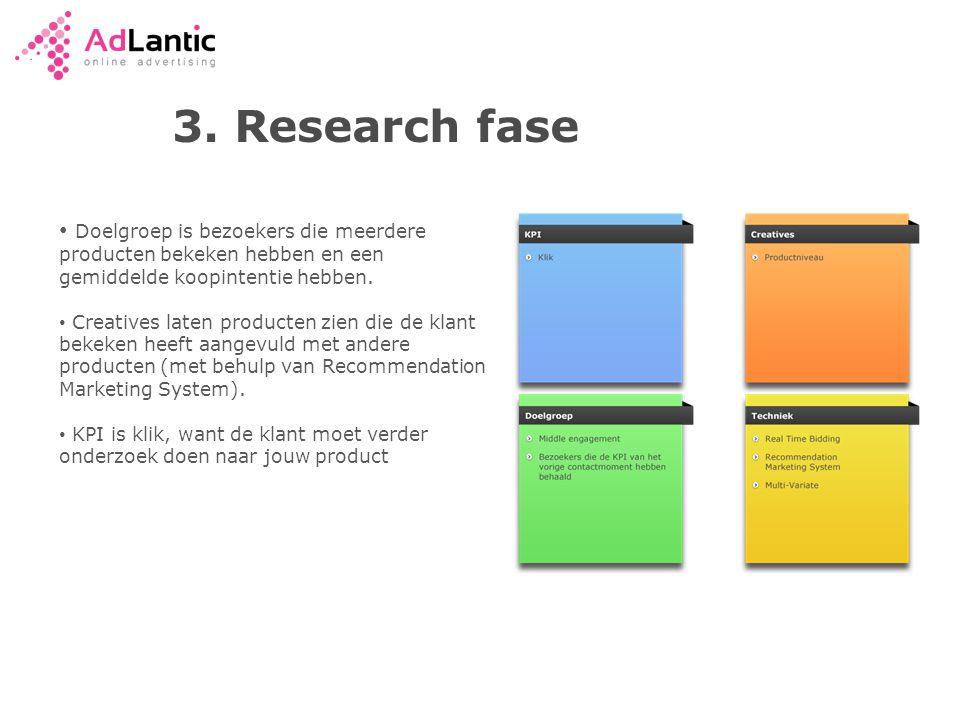 3. Research fase Doelgroep is bezoekers die meerdere producten bekeken hebben en een gemiddelde koopintentie hebben.