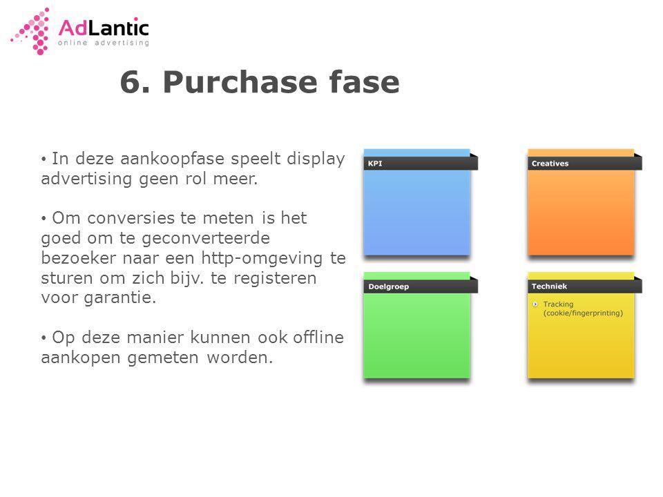 6. Purchase fase In deze aankoopfase speelt display advertising geen rol meer.