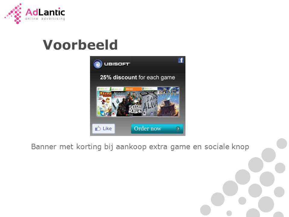 Banner met korting bij aankoop extra game en sociale knop