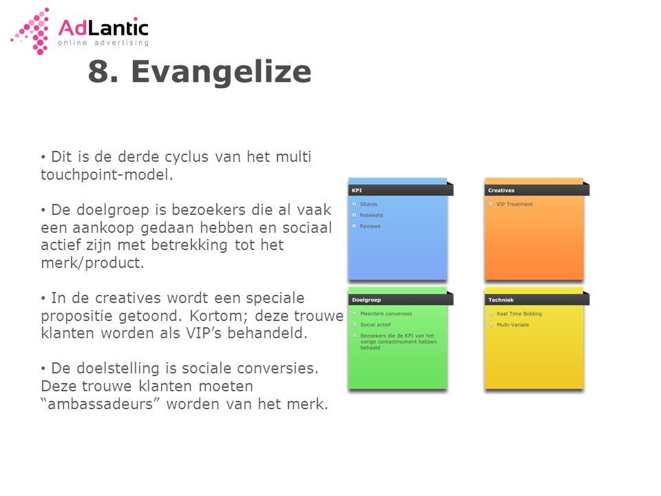 8. Evangelize Dit is de derde cyclus van het multi touchpoint-model.