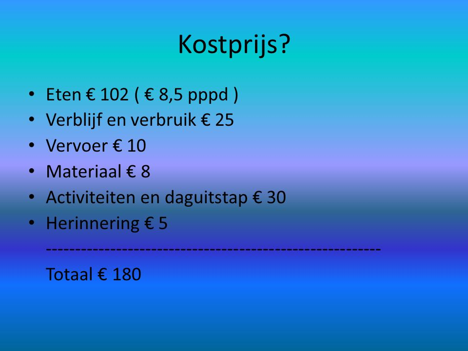 Kostprijs Eten € 102 ( € 8,5 pppd ) Verblijf en verbruik € 25