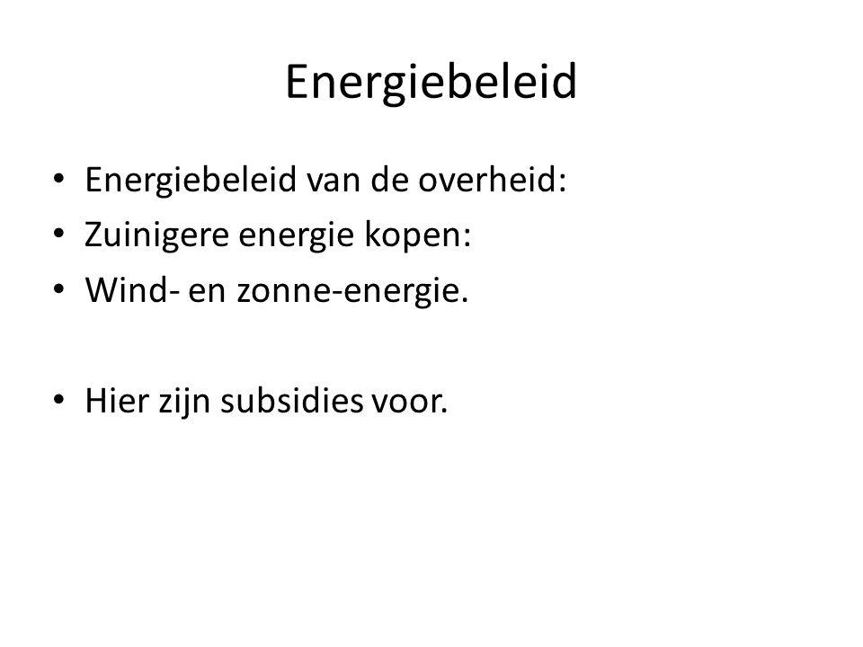 Energiebeleid Energiebeleid van de overheid: Zuinigere energie kopen: