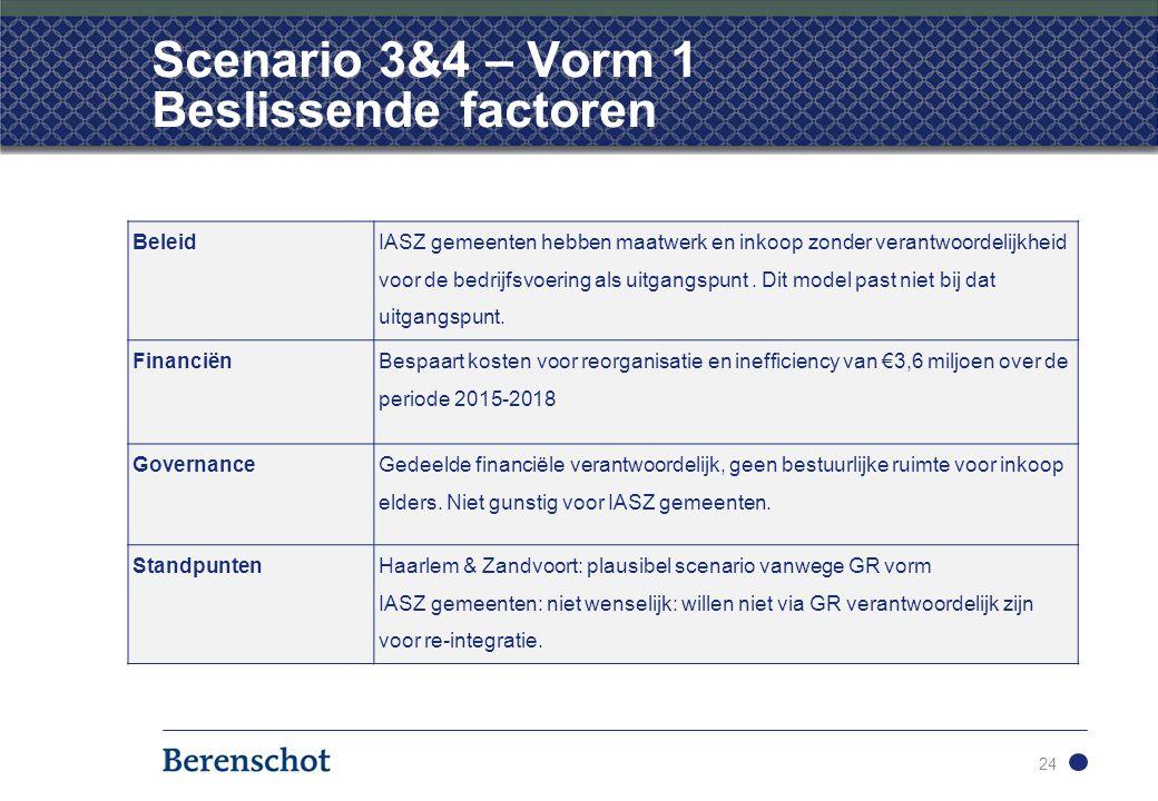 Scenario 3&4 – Vorm 1 Beslissende factoren