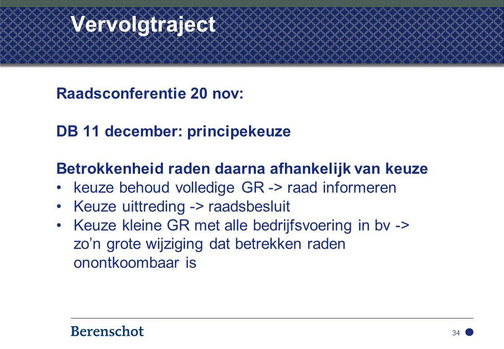 Vervolgtraject Raadsconferentie 20 nov: DB 11 december: principekeuze