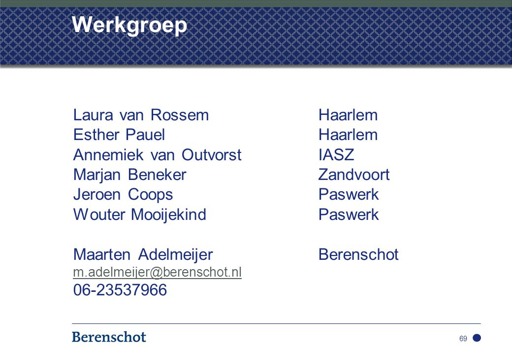 Werkgroep Laura van Rossem Haarlem Esther Pauel Haarlem