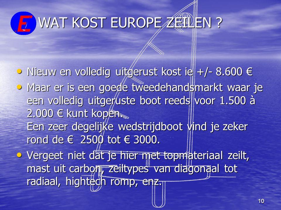 WAT KOST EUROPE ZEILEN Nieuw en volledig uitgerust kost ie +/- 8.600 €