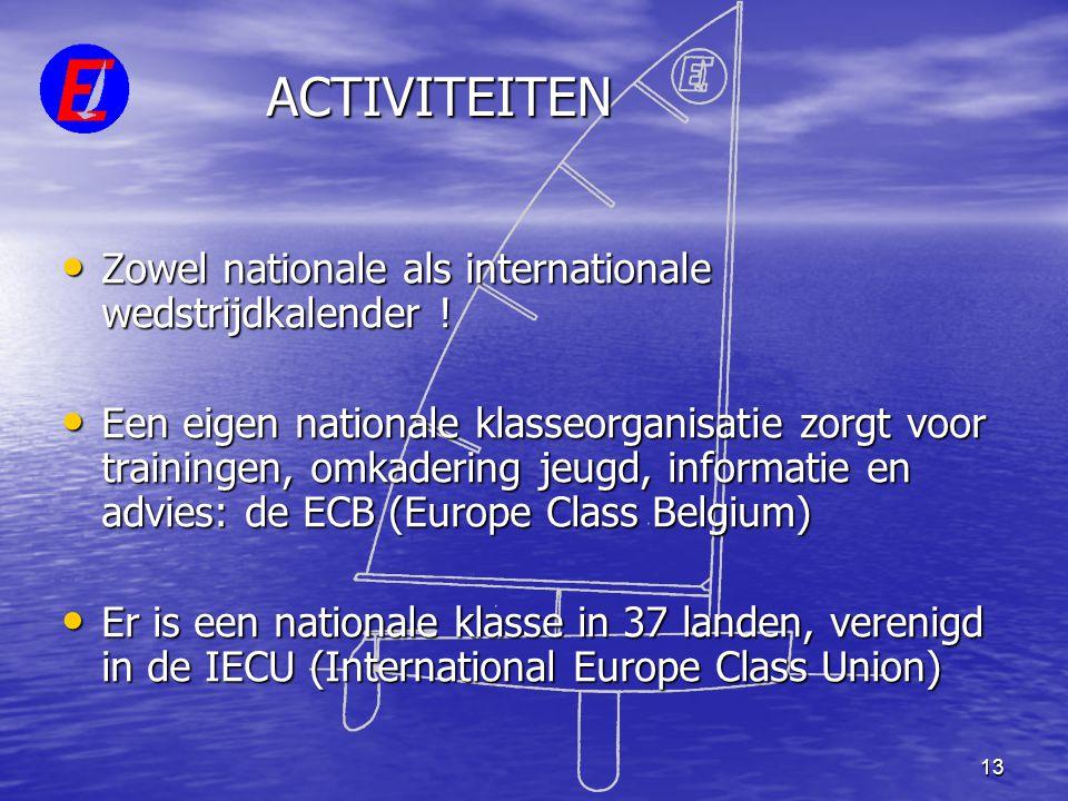ACTIVITEITEN Zowel nationale als internationale wedstrijdkalender !