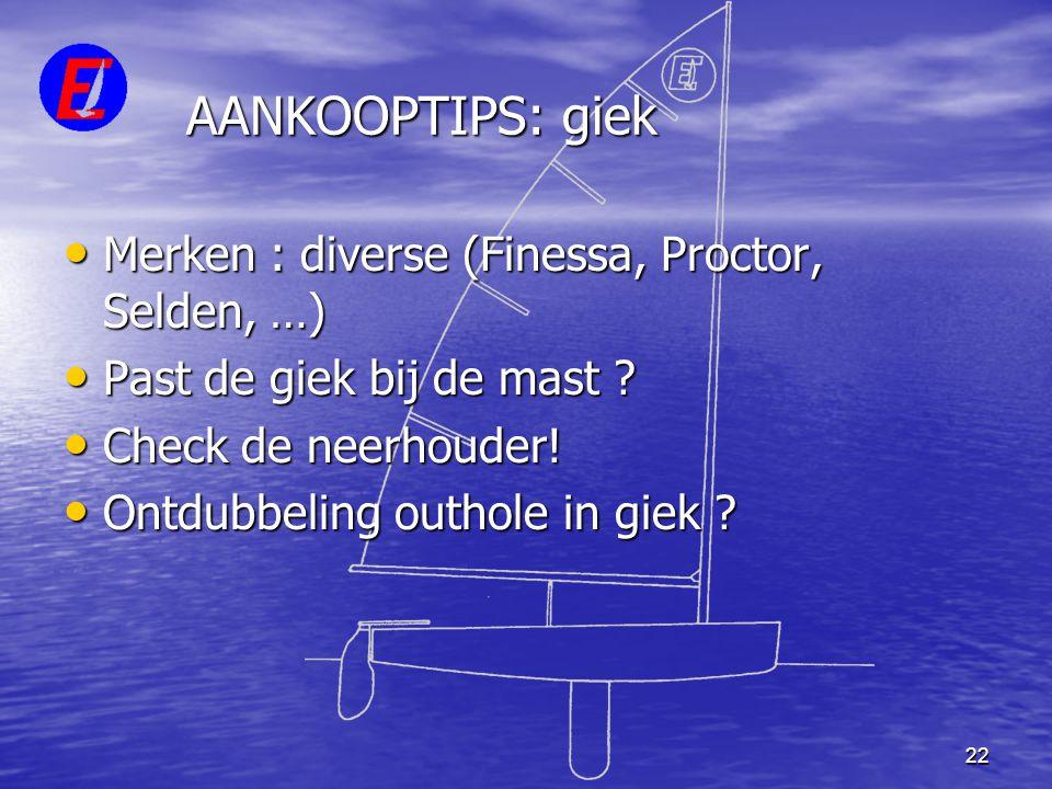 AANKOOPTIPS: giek Merken : diverse (Finessa, Proctor, Selden, …)