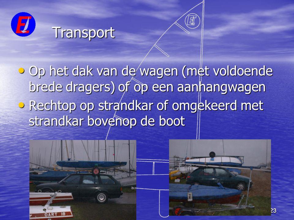 Transport Op het dak van de wagen (met voldoende brede dragers) of op een aanhangwagen.